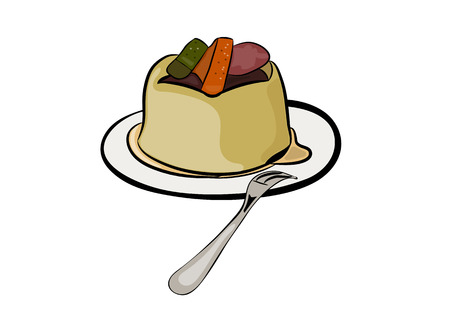 vanilla pudding: pudding with vanilla custard and fruit on top vector illustration