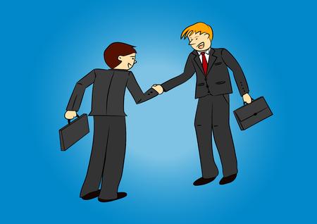 Two businessmen shaking hands cartoon illustration vector
