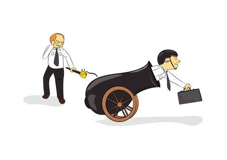 businessmen wearing helmet in cannon cartoon illustration vector Illustration