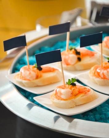 Gourmet Finger Food Catering Sweet and Sour Shrimp Crisp Bread photo