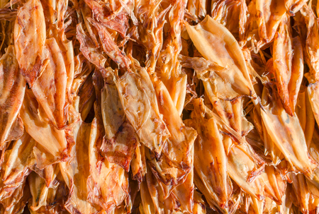 seafood dried squid at fresh market Stock Photo