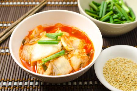 korean salad: Korean traditional food cabbage salad with hot pepper (kimchi)