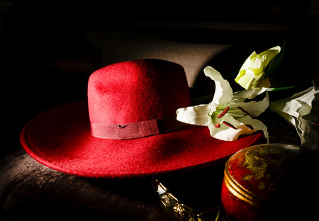 ladys: still life shot of retro ladys hat with fabric flower decoration Stock Photo