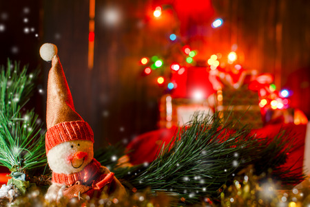 Christmas decorations snow man with background of gift boxes Stock Photo