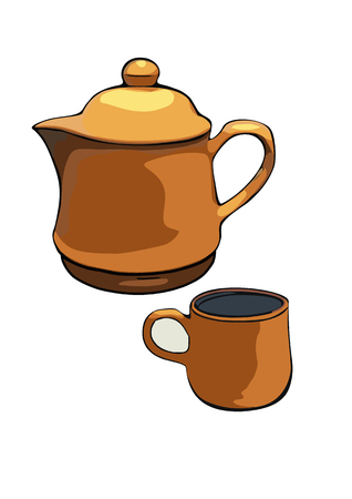 cray: brown cray tea pot isolated on with background Vector Illustration
