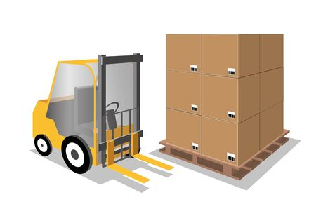 storage boxes: illustration of forklift with storage boxes