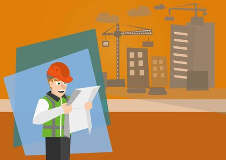 surveying: illustration of profession architect looking at blueprint with background of building Illustration