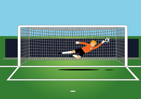 soccer goal: illustrator of soccer goal keeper catching a ball on the field