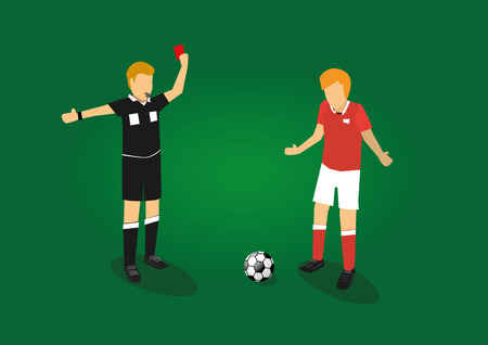 illustration of  a soccer referee showing red card to a soccer player