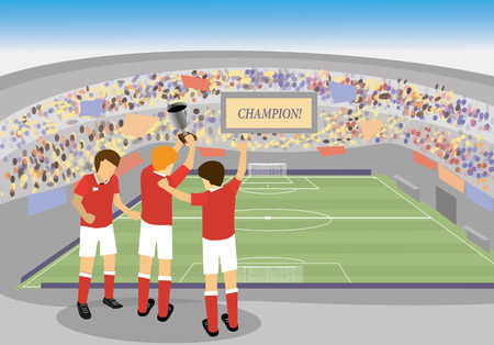 soccer stadium: soccer player holding a trophy and celebrating in stadium Illustration