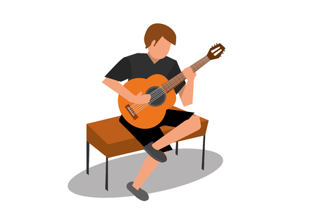 classical guitar: young man playing an acoustic classical guitar
