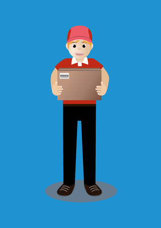 cartoon man in red uniform delivery of box package