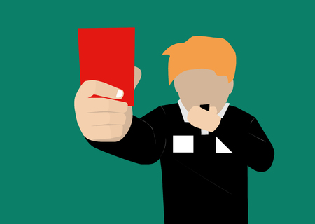 soccer referees hand with red card: soccer referee showing a red card Illustration
