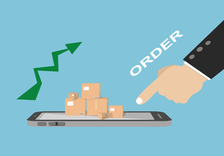 human hand pointing finger to order products package boxes from a smartphone screen Illustration