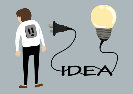 plug socket: business man with light idea bulb plug socket. creative idea concept flat