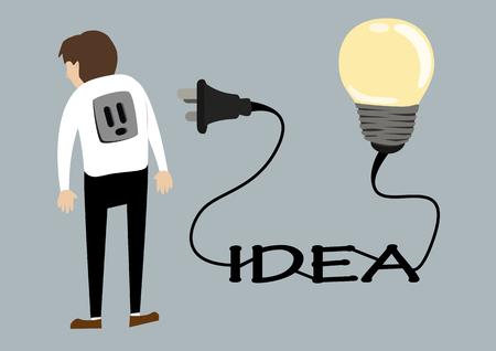 enchufe de luz: hombre de negocios con la idea de la luz toma de corriente de la bombilla. concepto creativo idea plana