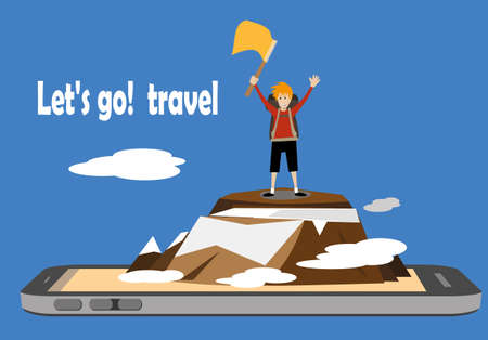 male hiker standing on top of a mountain and waving flag on a smartphone mobile screen. travel adventure concept