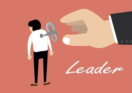 flaches Design Vektor von Hand dreht sich auf einem Schlüssel Wickler Uhrwerk auf der Mitarbeiter zurück. Führungskonzept
