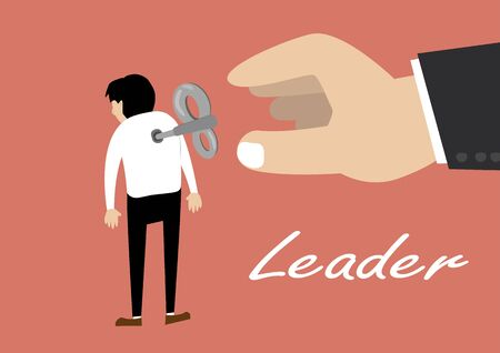 leadership key: flat design vector of hand turns on a key winder clockwork on the employee back. leadership concept