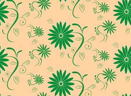 abstract seamless floral pattern on brown background