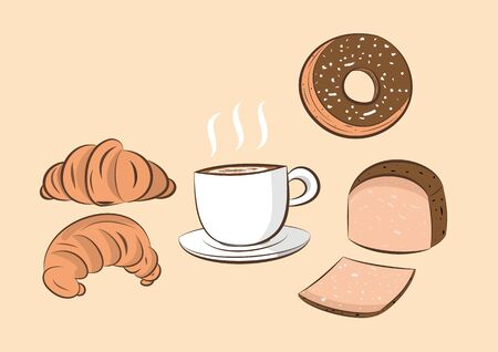 illustration of coffee  with donut; bread and croissant