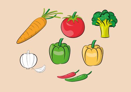 illustration of vegetable ingredients set.