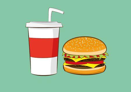 illustration of hamburger with cola drink.fast food concept. Illustration