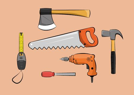 illustration of carpenter wood working construction tools set.