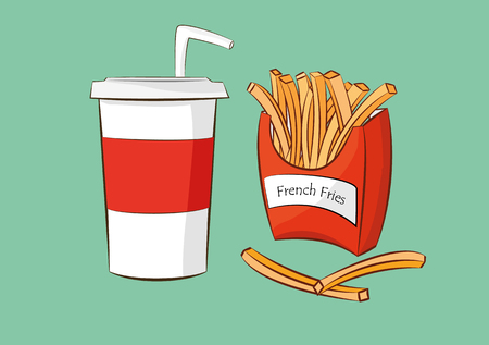 illustration of frenchfries with cola drink.fast food concept.
