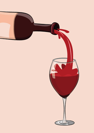 illustration of red wine bottle pouring to glass.