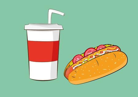 illustration of hotdog sausage with cola drink. fast food concept. Illustration