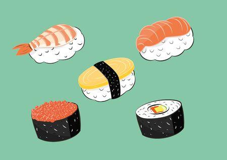 illustration of Japanese food sushi set. Illustration