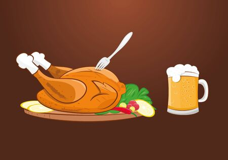 fried chicken wings: vector illustration of grilled roast chicken with beer mug. Illustration