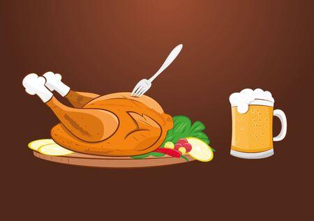 vector illustration of grilled roast chicken with beer mug. Illustration