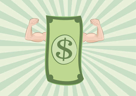 vector illustration of dollar banknote showing muscle arms on green sunburst background. money power concept. eps 10 Illustration