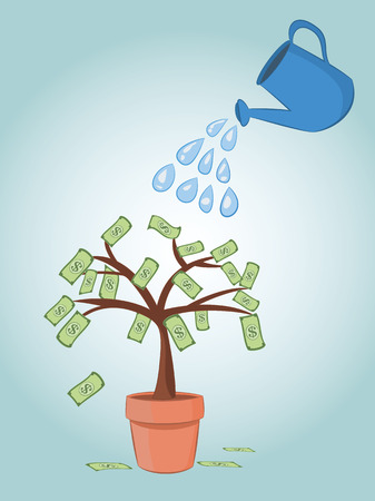 vector illustration of blue can watering  dollar banknote money tree in pot. business finance money investment concepts.