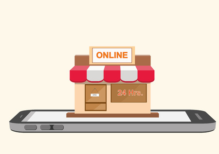 Vector illustration of online store shop on smartphone mobile screen. online shopping concept.
