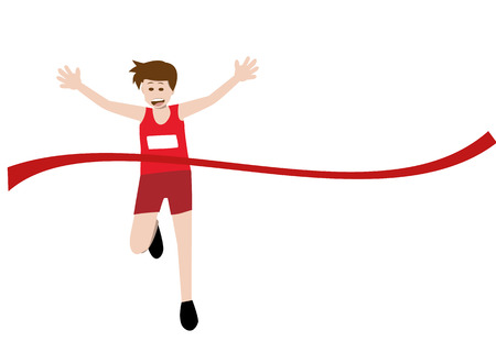 vector illustration of a runner athlete running and celebrates at finish line. eps 10