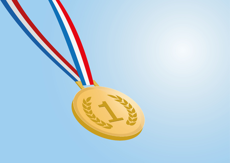 number one gold medal with ribbon on blue background.