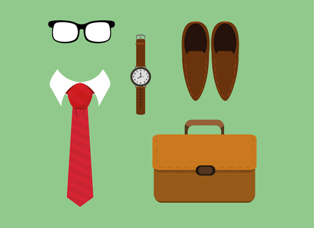 vector illustration of flat lay men fashion casual accessories tie,watch,glasses ,shoes and briefcase. eps 10