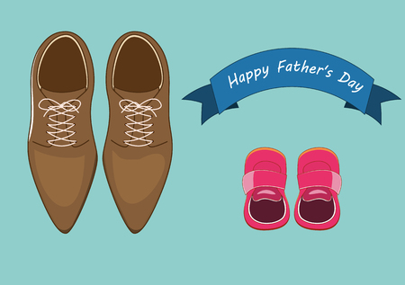 vector illustration of men leathers shoes and baby shoes with blue happy fathers day banner text. fathers day concepts.eps 10