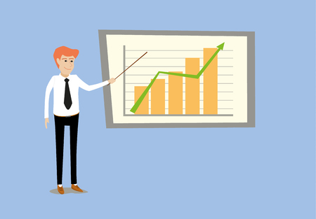 flat cartoon vector illustration of young business man making presentation by point at graph bar chart in front of whiteboard