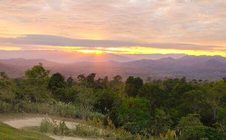 beautiful sunrise at mountain landscape