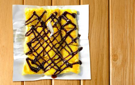 thai pancakes roti banana with chocolate