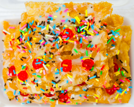 sweet crispy roti topping with milk and sprinkles