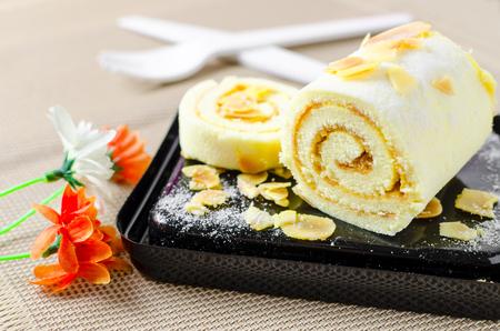 swiss sponge roll cake with butter jam