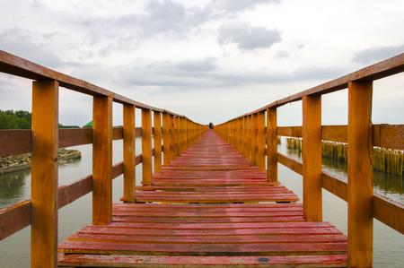 red wooden bridge at Bang Khun Tian,Bangkok, Thailand
