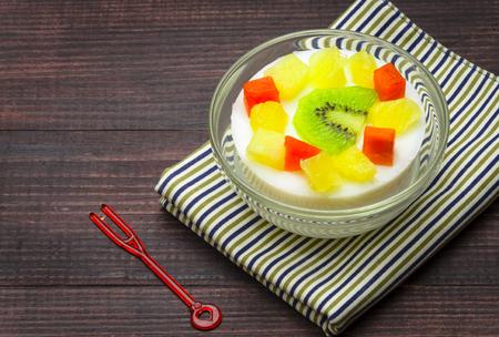 custard milk with fruit Salad dessert