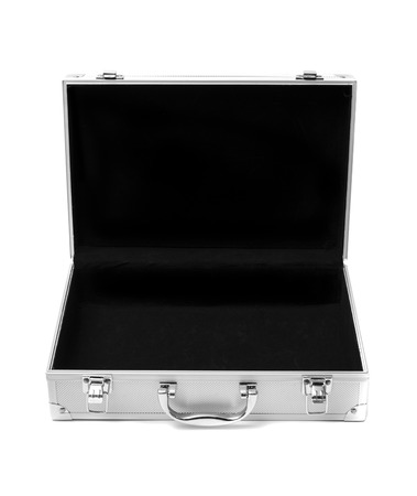 stainless steel suitcase storage box isolated on white background