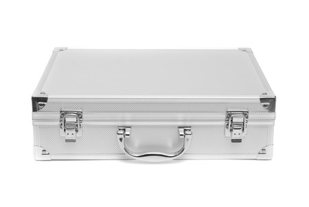 Stainless Steel Suitcase Storage Box Isolated On White Background Stock  Photo   76967325